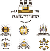 Vintage craft beer retro icon badge design emblems vector icons pub labels collection