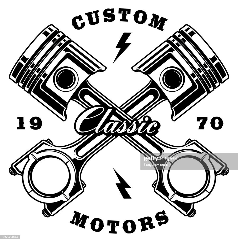 Vintage crossed pistons on white background