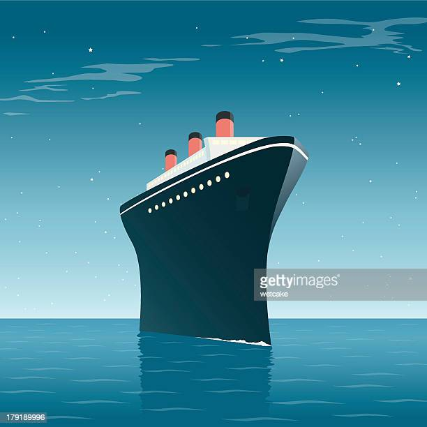 vintage cruise ship night - cruise ship stock illustrations