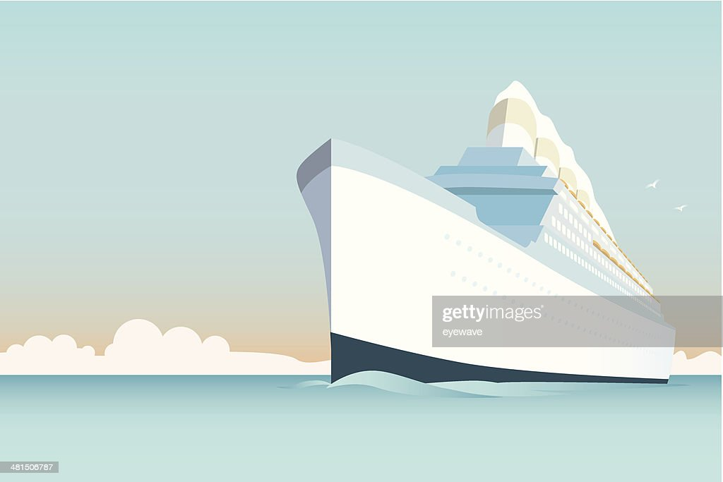 Vintage Cruise Ship vector Illustration