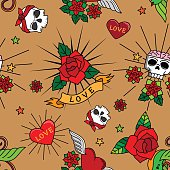 Vintage cute tattoo seamless pattern