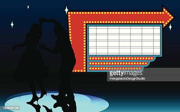vintage dance marquee - swing dancing stock illustrations