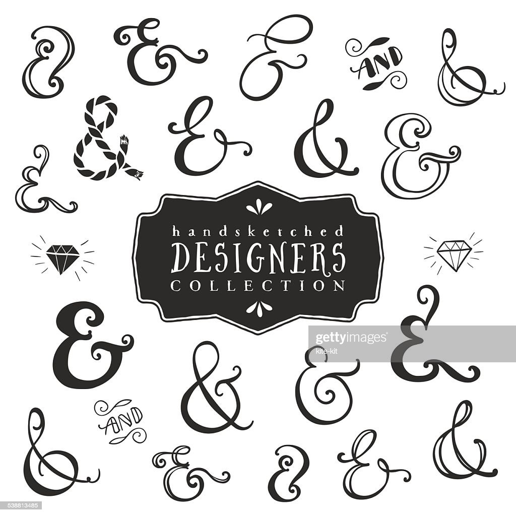 Vintage decorative ampersands collection.