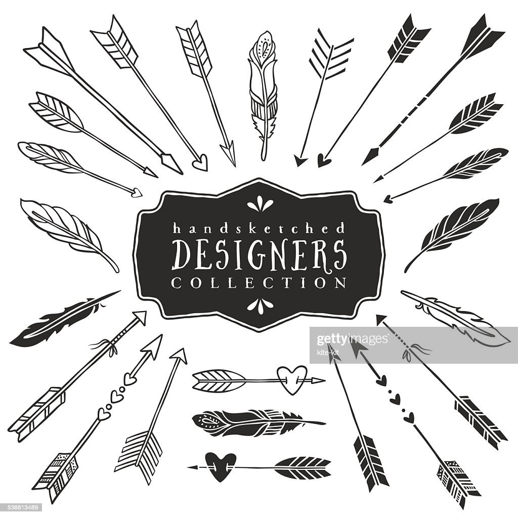 Vintage decorative arrows and feathers collection.