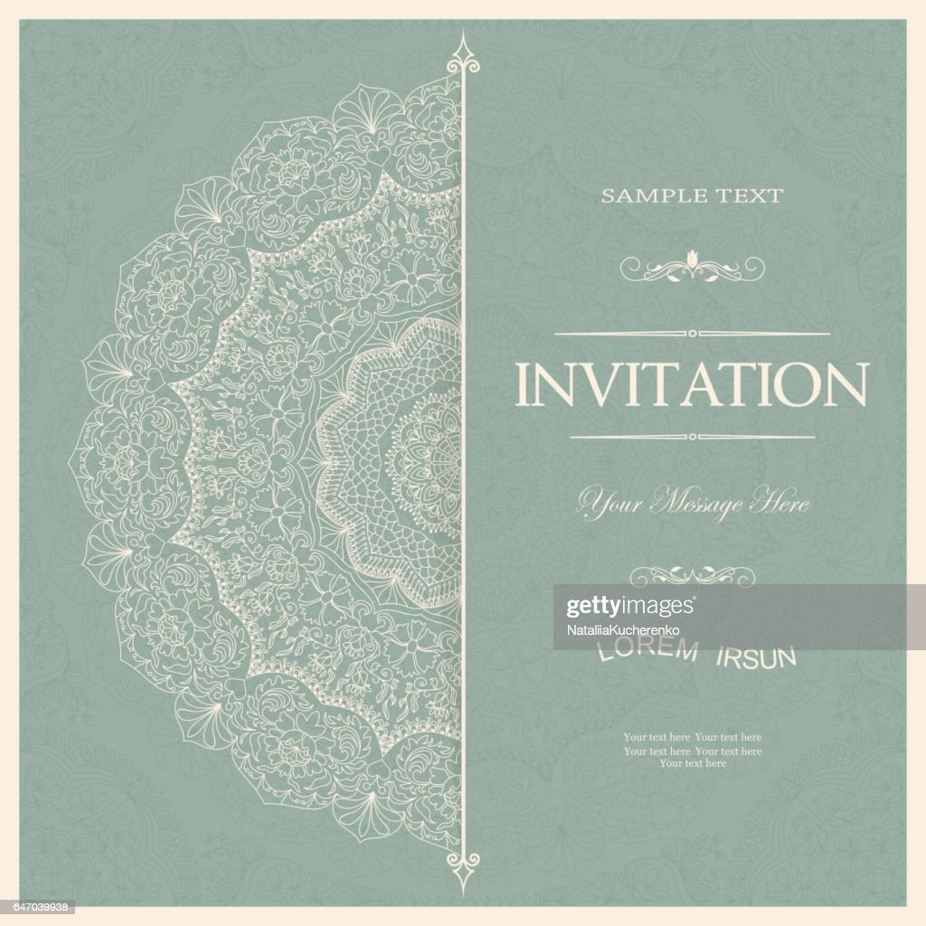 Vintage decorative elements. Wedding invitations or greeting cards with floral mandala.