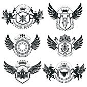 Vintage decorative emblems compositions, heraldic vectors.