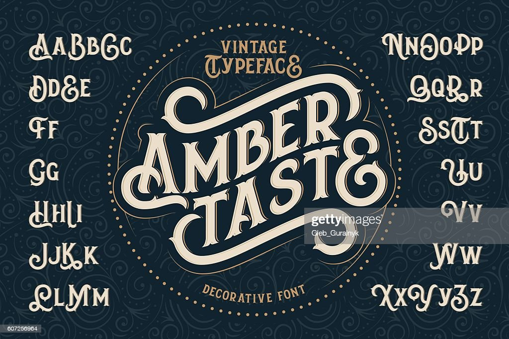 Vintage decorative font named 'Amber Taste'