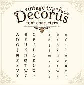 """Vintage decorative font with shadow called """"Decorus"""", translation from Latin """"Beautiful"""""""