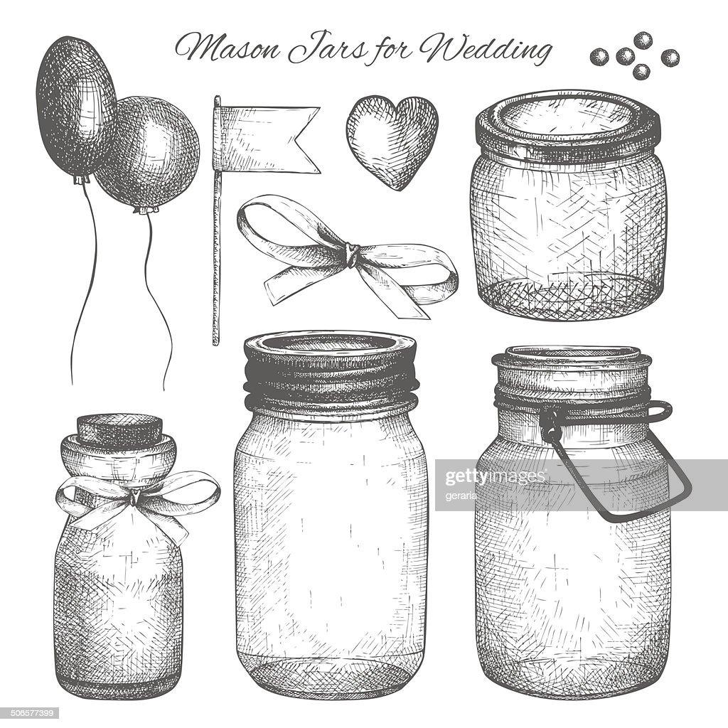 Vintage decorative glass canning jars and wedding design elements