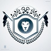 Vintage decorative heraldic vector emblem composed with wild lion illustration and security keys