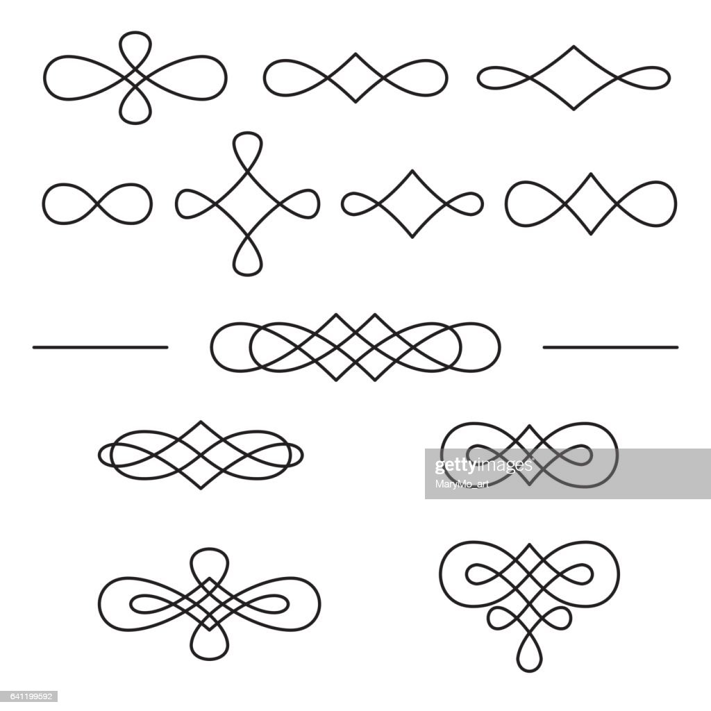 Vintage decorative swirls collection isolated on white background.