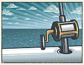 Vintage deep sea fishing background