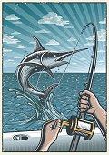 Vintage deep sea fishing poster