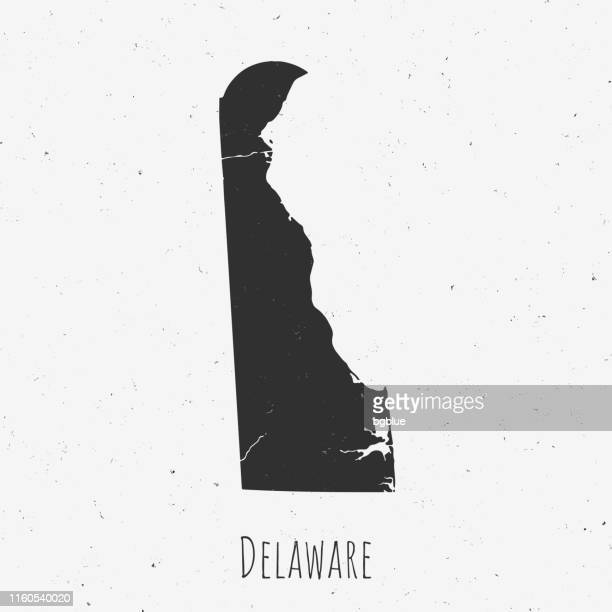 vintage delaware map with retro style, on dusty white background - wilmington delaware stock illustrations, clip art, cartoons, & icons