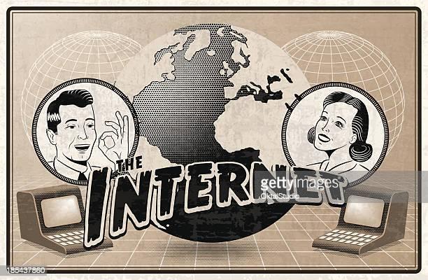 ヴィンテージのインターネット - 広告点のイラスト素材/クリップアート素材/マンガ素材/アイコン素材