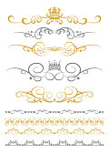 Vintage design elements, gold and silver colors on white. Scrolls, borders, frames