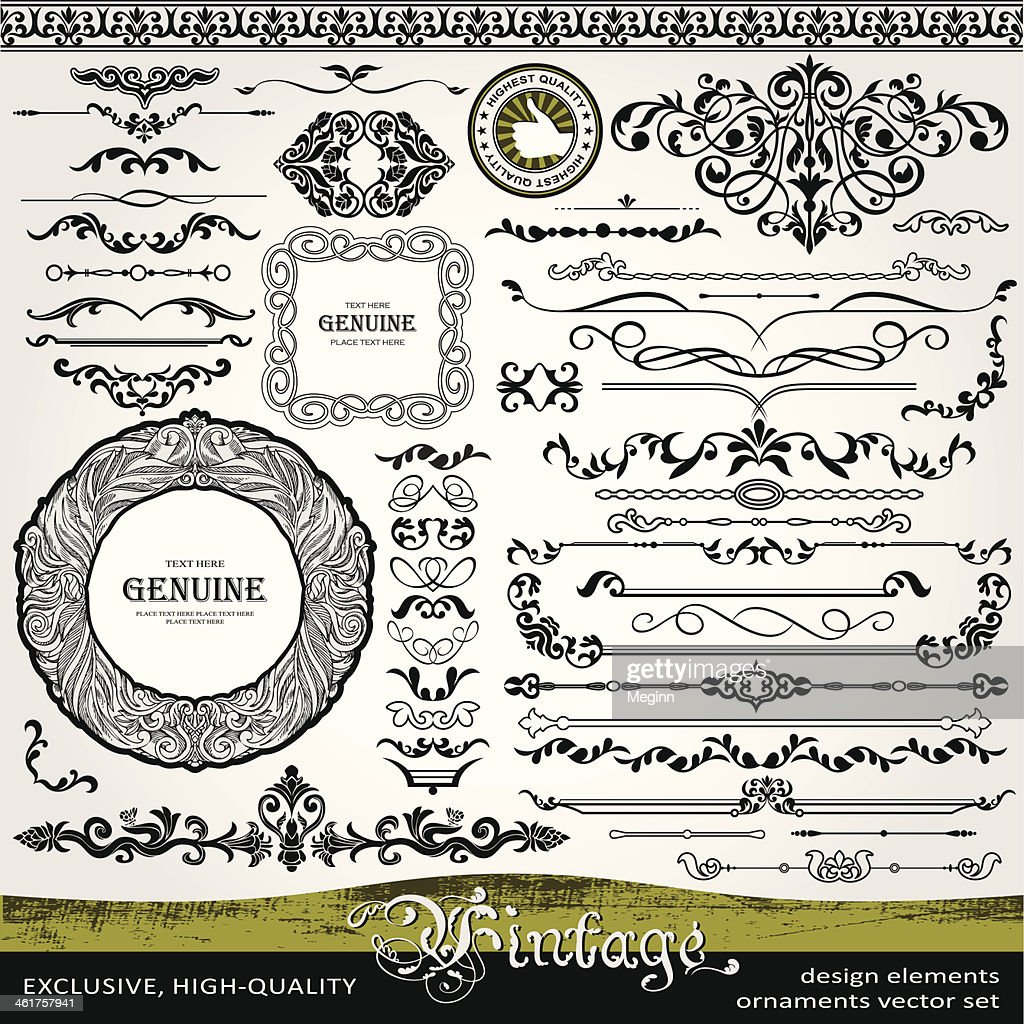 Vintage design elements, ornaments and dividers, page decorations