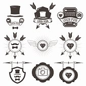 Vintage Design Elements. Retro, Hipster Style. Arrows, Labels, Ribbons,