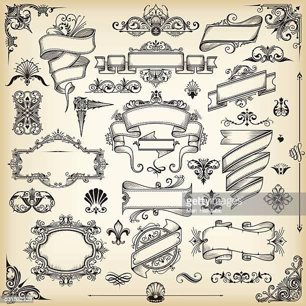 illustrations, cliparts, dessins animés et icônes de éléments de design vintage - fleur de lys