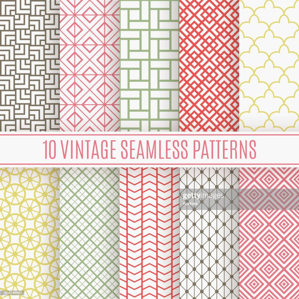 Vintage different vector seamless patterns