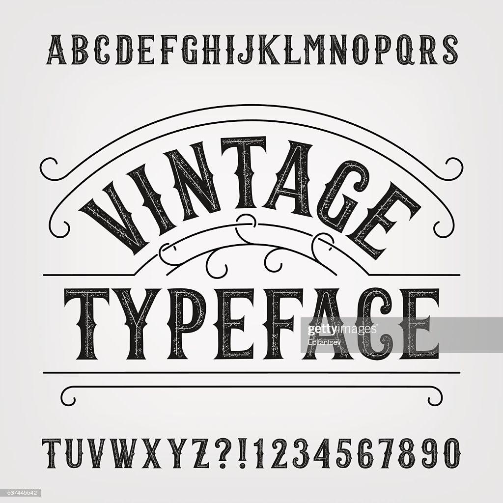 Vintage distressed alphabet vector font