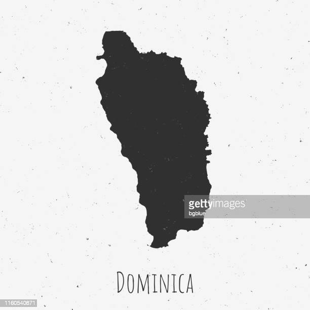 vintage dominica map with retro style, on dusty white background - dominica stock illustrations