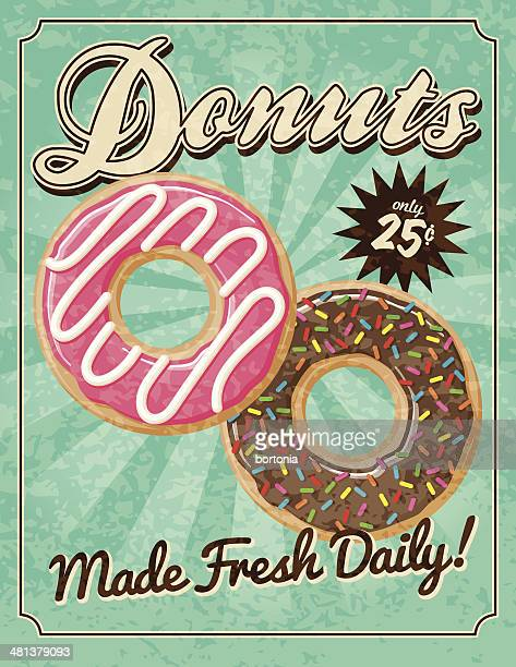 vintage donuts poster - donut stock illustrations, clip art, cartoons, & icons