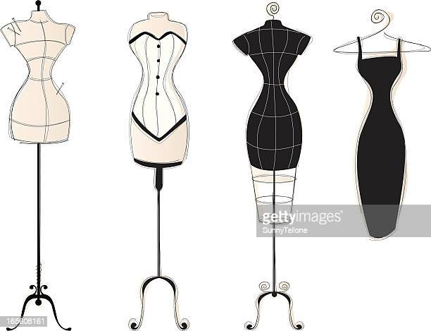 vintage dress forms part2 - mannequin stock illustrations, clip art, cartoons, & icons