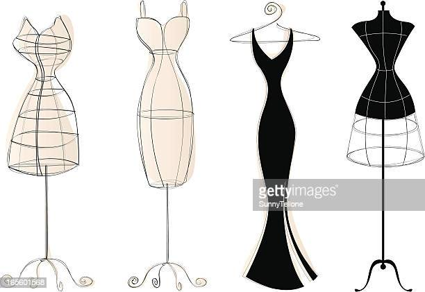 vintage dress forms - model stock illustrations