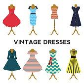Vintage dresses vector set