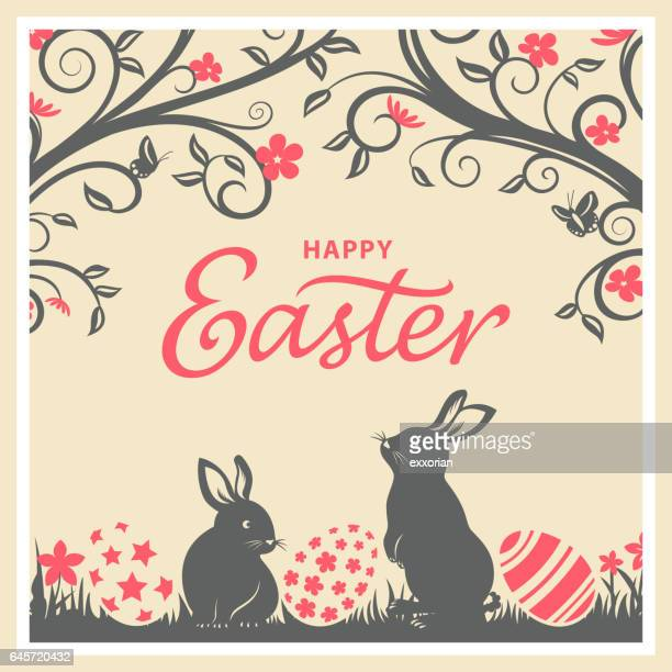 vintage easter bunnies & eggs card - easter bunny stock illustrations