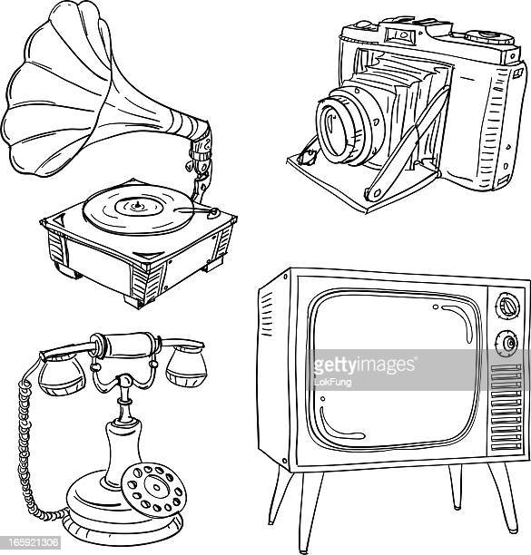 vintage electrical appliances in black and white - obsolete stock illustrations