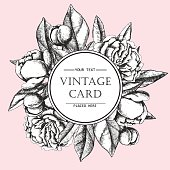 Vintage elegant card with peony flowers.