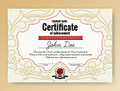 Vintage elegant certificate of achievement with ornaments