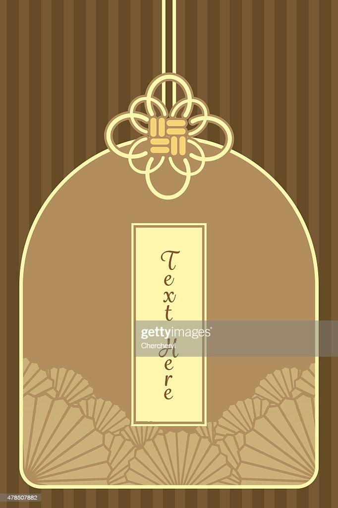 vintage elegant golden Japanese and Chinese invitation card