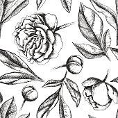 Vintage elegant pattern with peony flowers.