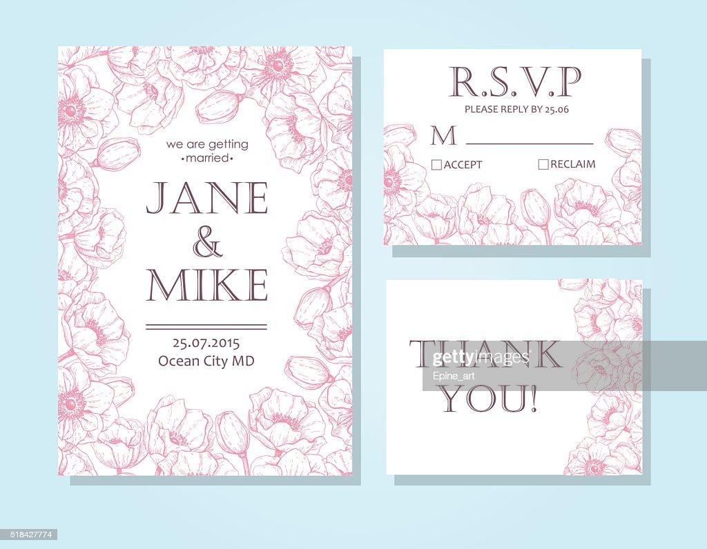 Vintage elegant wedding invitation card template set with anemon