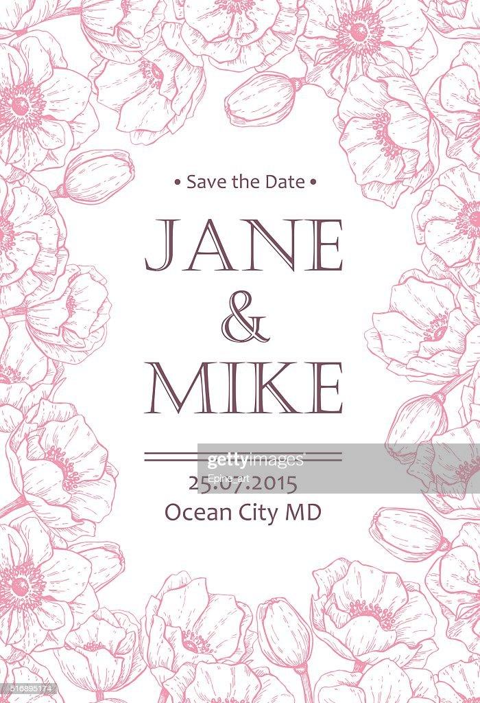 Vintage elegant wedding invitation card template with anemone fl