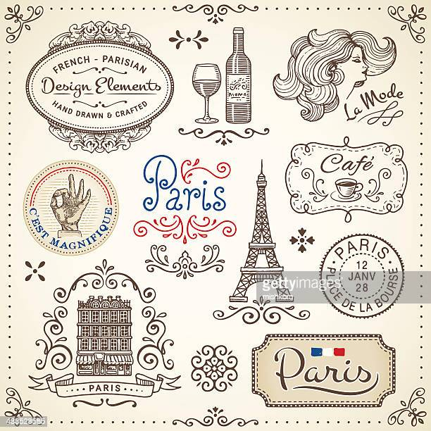 vintage elements - france stock illustrations