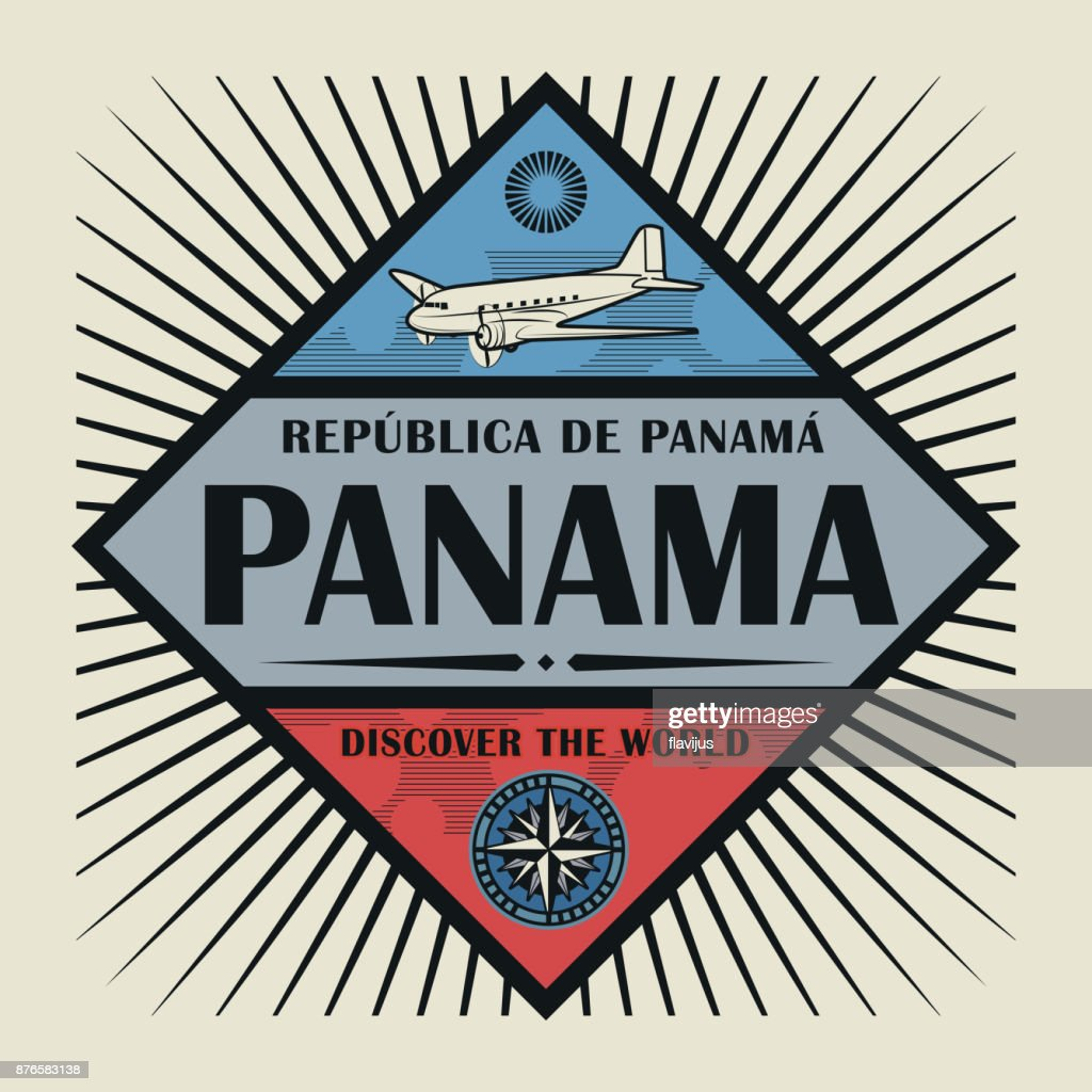 Vintage emblem, text Panama, Discover the World