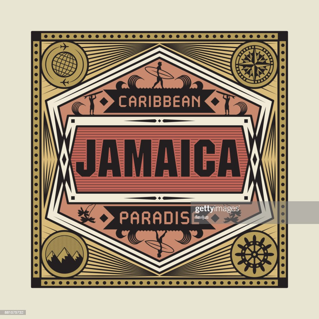 Vintage emblem with text Jamaica