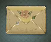 vintage envelope isolated,