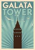 Vintage Galat Tower Poster