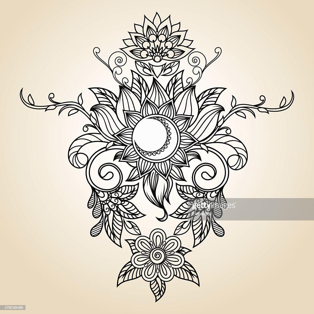 Vintage Ethnic Pattern Henna Tattoo Sun Lotus Flower And Moon Vector