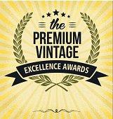 Vintage excellence awards label with Laurel Wreath