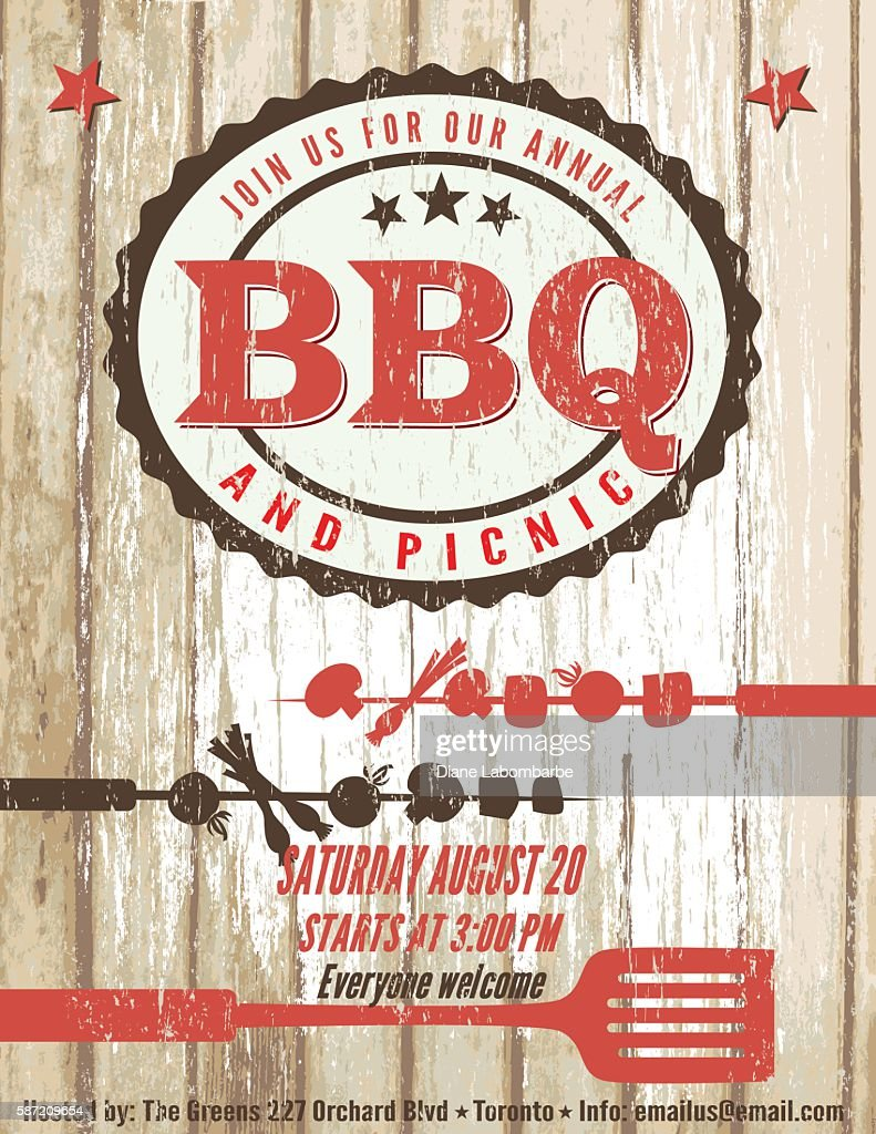 vintage faded bbq party template sign wood background vector art