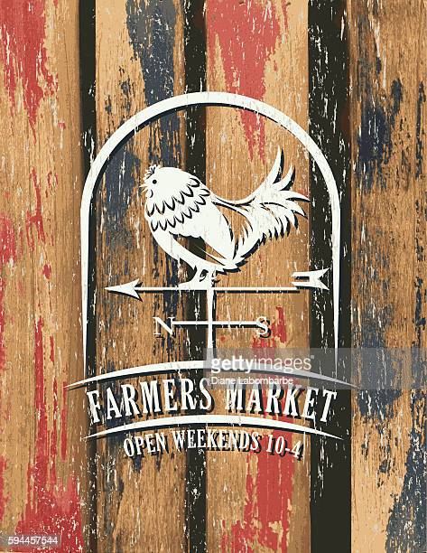 vintage faded farm sign on wood background - agricultural fair stock illustrations, clip art, cartoons, & icons