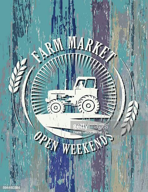 ilustraciones, imágenes clip art, dibujos animados e iconos de stock de vintage faded farm sign on wood background - puesto de mercado