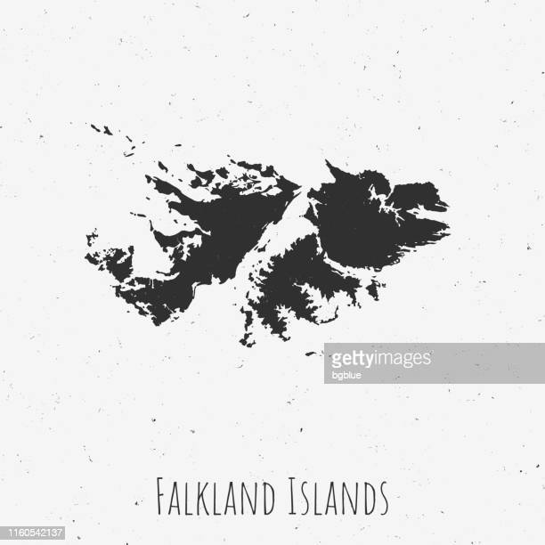 ilustraciones, imágenes clip art, dibujos animados e iconos de stock de mapa vintage de las islas malvinas con estilo retro, sobre fondo blanco polvoriento - islas malvinas