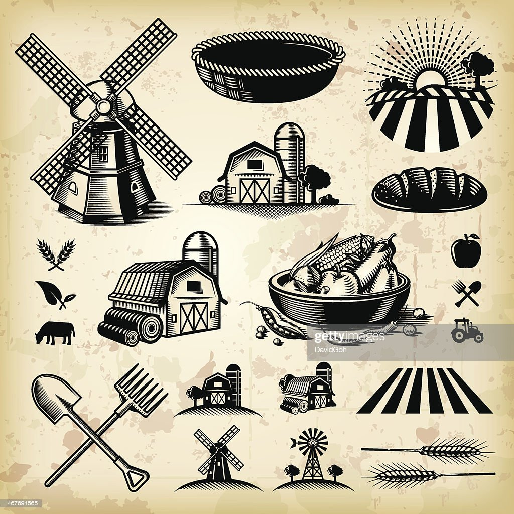 Vintage Farm Illustrations : stock illustration
